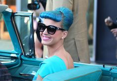 Katy Perry with blue hair in a blue dress riding in a blue car! #SephoraColorWash