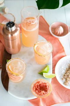 Smoky + Spicy Mezcal Paloma — All Purpose Flour Child Spring Cocktails, Easy Cocktails, Summer Drinks, Cocktail Drinks, Cocktail Recipes, Drink Recipes, Craft Cocktails, Cocktail List, Cocktail Ideas