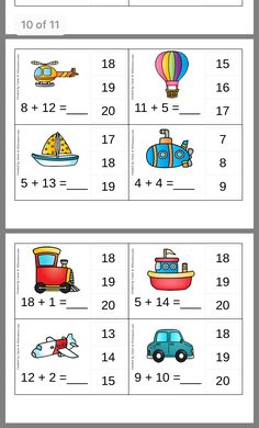 Kindergarten Learning, Kindergarten Math Worksheets, Kids Learning Activities, Preschool Activities, Math Practice Worksheets, Eureka Math, Math Addition, Math For Kids, Math Lessons