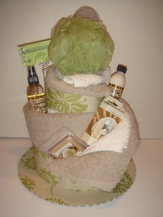 This is a great idea for a Pure Romance gift basket - Black Towel, Pink ribbon, Pleasure Puff, and some PR beauty products!