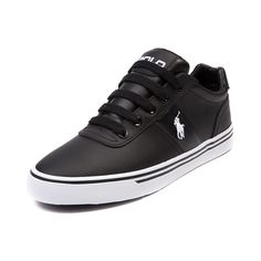 Shop for Mens Hanford Casual Shoe by Polo Ralph Lauren, Black White Leather, at Journeys Shoes. Lo-top casual sneaker from Polo featuring a leather upper with monochromatic side stripe and lace closures.