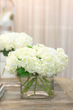 Simple white hydrangeas. Photography by Bryce Covey Photography / brycecoveyphotography.com