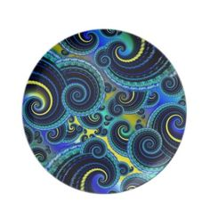 #Funky Turquoise and Yellow Swirl Pattern Party #Dinner #Plates $28.10