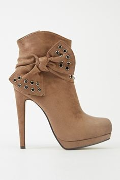 Encrusted Bow Heeled Ankle Boots