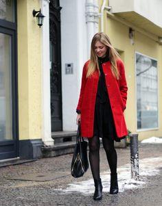 Aniri T - Zara Coat, Zara Shirt, H&M Skirt, Clarks Boots - Red & Black | LOOKBOOK