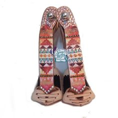 Bling Stirrups - Angled Copper with Aztec Design by Sassy Cactus