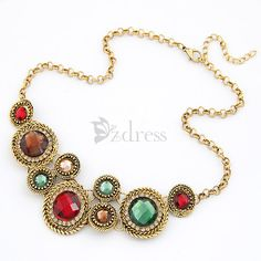 [USD $4.39] European Style Alloy Gem Embellished Necklace For Women on Zdress.com