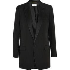 Saint Laurent Satin-Lapel Wool-Twill Blazer as seen on Khloe Kardashian