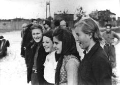 Lodz, Poland, 1940, Young Jewish women in the ghetto. Stats say that 2 out of every 3 were gassed/murdered/died in the the holocaust. Of this group, 1 may have survived. There is no record by name for these 4 young women