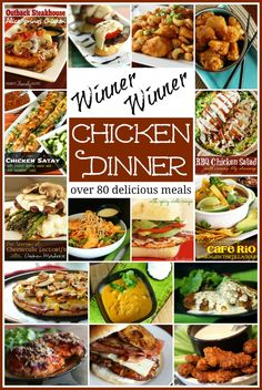 Winner Winner Chicken Dinner!  Over 80 delicious chicken dishes from favfamilyrecipes.com #chicken