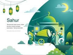 Sahur, or also called Sehur, Sehri, Sahari and Suhoor in other languages, is an Islamic term that refers to eating activities by Muslims carried out in the early hours for those who will fast durin. Flat Design Illustration, Illustration Art, Business Illustration, Web Design, Web Layout, Layout Design, Anime Muslim, Affinity Designer, Grafik Design