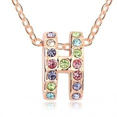Chain Necklace Vintage Style Austrian Crystal Pendant Fashion Accessories For Women 18K Rose Gold Plated Jewelry  10483