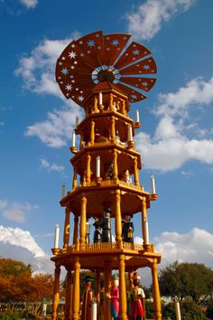 26 foot German Christmas Pyramid in Fredericksburg, Texas. Made in Germany~the only one in the USA