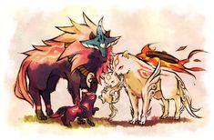 Okami: Amaterasu, Oki and pups. [妄想→願望] by 黒須 @ pixiv