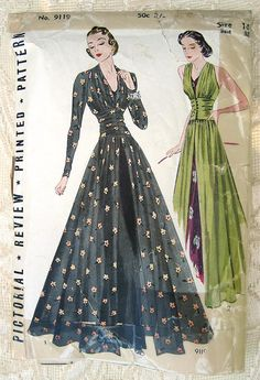 Vintage 30s Evening Gown w Bouffant Skirt, Plunge Back Pictorial Review 9119 Sewing Pattern. Size 14