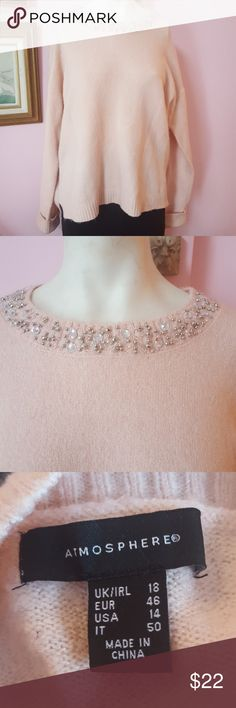 Atmosphere pink jeweled sweater size 14 Amosphere a light pink sweater with jewels around the neckline very pretty on size 14 Atmosphere Sweaters Crew & Scoop Necks