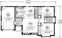 Modern Style House Plan - 2 Beds 1 Baths 898 Sq/Ft Plan #25-1094 Floor Plan - Main Floor Plan - Houseplans.com