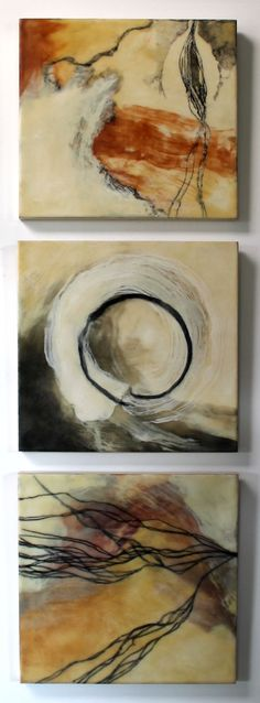 Jo Campbell | Lines of the Land | encaustic mixed media on panel /sm