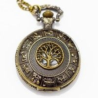 Geek | Dad's Old Fashion Pocket Watch Tree of Life Charm Men's Pocket Watch Pocket Watch Necklace Pendant Simple Round