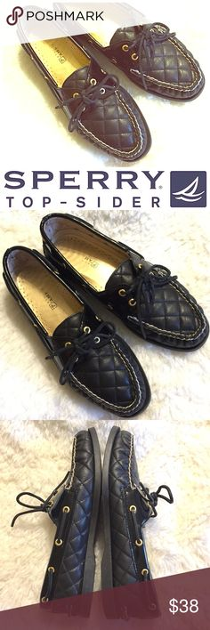 "SPERRY Black Quilted leather topsider loafers Jet black Quilted leather Sperry brand Topsider loafers. Supple leather loafers with non-marking soles. Gently used- EUC. No noticeable signs of wear on exterior of shoe. Women's size 9.5. Sole measures about 10 3/4"" from heel to toe. (Docksider, dock shoes, deck shoes, boat shoes.) NO TRADES. Sperry Shoes Flats & Loafers"