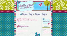 AVAILABLE for install on your blog-- premade custom Blogger design in pink, teal, and green with a whimsical butterfly theme. Only sells once, so you won't see it anywhere else.