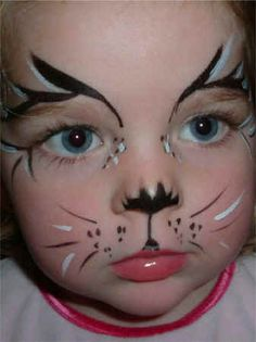 cat facepaint - use pink and grey for bunny.  For little ones