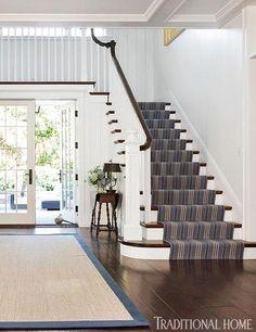 striped runner on stairs - Stark Carpet custom