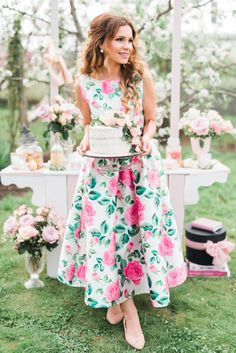 Garden Birthday Party. Floral midi dress by Chicwish. Candy bar, floral cake and flowers. Blossom trees. Romantic, feminine, delightful. 30th birthday.