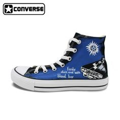 123.25$  Watch now - http://ali175.worldwells.pw/go.php?t=32604782892 - Unique Sneakers Women Men Converse All Star Supernatural Custom Design Hand Painted Canvas Skateboarding Shoes 123.25$