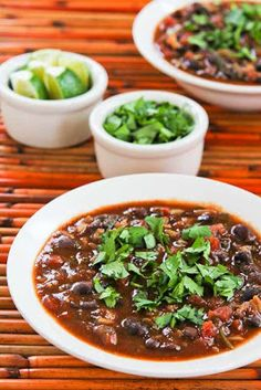 Slow Cooker Vegetarian Black Bean and Rice Soup with Lime and Cilantro is a tasty soup I've made over and over; this tasty soup is gluten-free, low-glycemic, meatless, and South Beach Diet friendly. [found on KalynsKitchen.com]