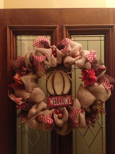Fall Burlap Wreath by KreationsByKristiAnn on Etsy