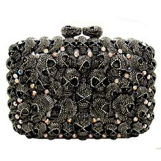 Swarovski Crystal Multi Skull Side Clutch Bag Pewter