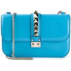 Valentino Garavani 'Glam Lock' shoulder bag ($2,240) ❤ liked on Polyvore featuring bags, handbags, shoulder bags, blue, leather purse, genuine leather shoulder bag, chain shoulder bag, blue handbags and blue leather purse