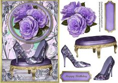 Lovely Lilac flower shoes and roses on Craftsuprint - Add To Basket!