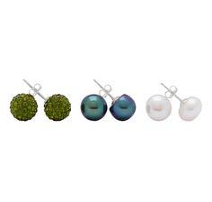 Crystal & Freshwater Pearl Sterling Silver Earrings Set of 3 $24.88