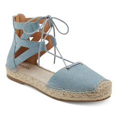 These Women's Janya Ghillie Lace Up Espadrille Ballet Flats by Merona™ add boho style to your favorite outfits. The classic espadrille design adds casual flair to these women's flats.
