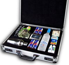 "Men's bachelor (or other) party briefcase. You can make them for fare less than this one called ""The Football Briefcase"" sells for (five hundred)"