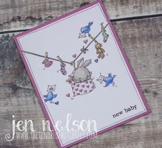 Babys Washing Line Wink Of Stella, Lily Of The Valley, Blue Butterfly, Copic Markers, Stamp Sets, Baby Cards, Happy Thanksgiving, A5, Handmade Cards
