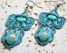 Teal and Turquoise Tatted Beaded Chandelier Earrings via Etsy