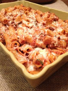 Headspace: Baked Ziti with Meat Sauce, Ricotta, and Mozzarella