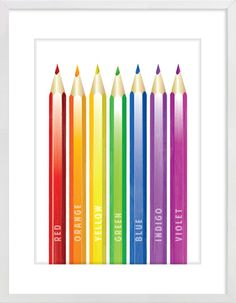 Rainbow coloured pencils Nursery Wall Print to brighten up your kid's room. Artwork prices start at $7.00. #nurserywallprints #rainbow #pencils