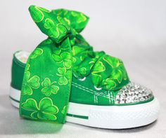 Adorable green bling St. Patrick's Day Converse baby shoes... would work with adult shoes too!