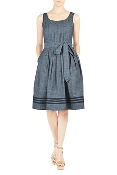 I <3 this Tux front dot embellished chambray dress from eShakti