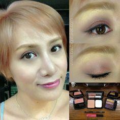 ALL AVON: ual powder foundation in natural beige • quad eyeshadow palette vibrant spice • glimmertsticks eyeliner in blackest black • lip gloss in pink watermelon • luminous blush in peach
