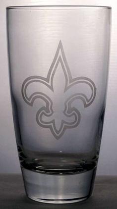 Sand-carved 18oz beverage glass New Orleans Saints logo