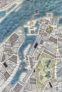 Nancy would love this. Birkenhead Docks map art quilt by Mary Bryning Textile Fiber Art, Textile Artists, Textiles, Embroidery Map, Map Quilt, Creation Art, Landscape Quilts, Thinking Day, Art Fair