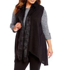 d96ce2cf934 Allison Daley Plus Faux Fur ShawlCollar Open Front Vest  Dillards Zoom