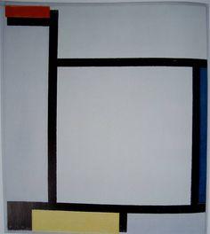 Mondrian, Composition avec rouge, bleu, noir, jaune et gris, 1921, h/t, 39,5 x 35 cm, Gemeente Museum à La Haye