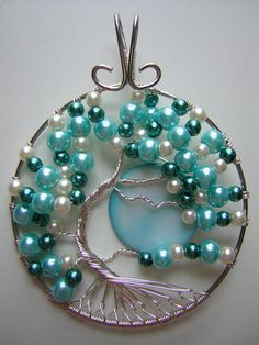 Pearly Blue Tree of Life with Moon Wire by RachaelsWireGarden, $50.00