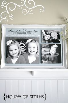 Love this! DIY frame with beadboard and canvas photos.